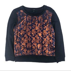J. Crew Navy Floral Metallic Sweatshirt  - Medium